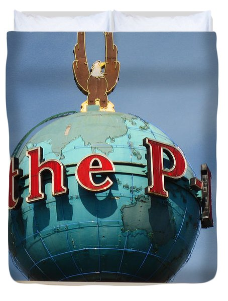 The Seattle Pi Globe Sign Duvet Cover by Kym Backland