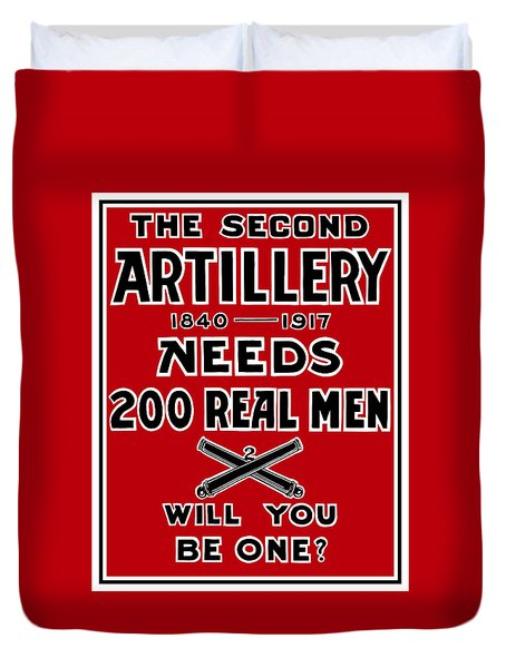 The Second Artillery Needs 200 Real Men Duvet Cover by War Is Hell Store