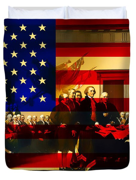 The Signing of The United States Declaration of Independence and Old Glory 20131220 Duvet Cover by Wingsdomain Art and Photography