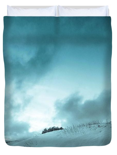 The Sledding Hill Duvet Cover by Mary Amerman