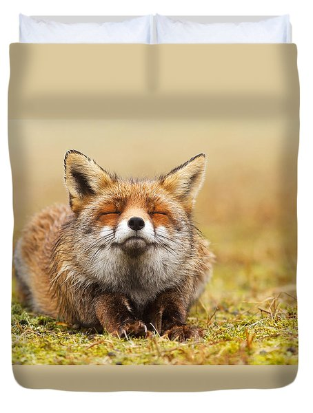 The Smiling Fox Duvet Cover by Roeselien Raimond