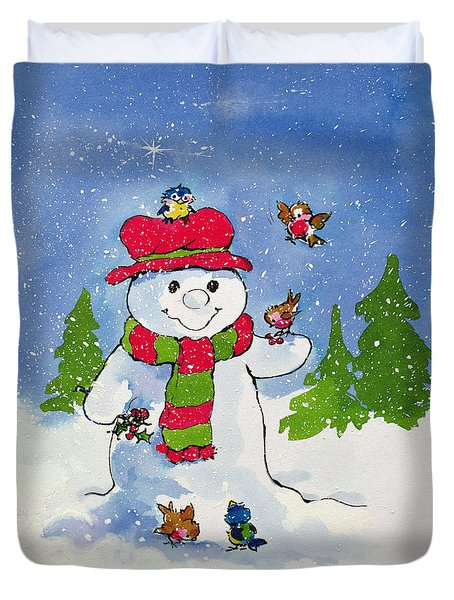 The Snowman Duvet Cover by Diane Matthes