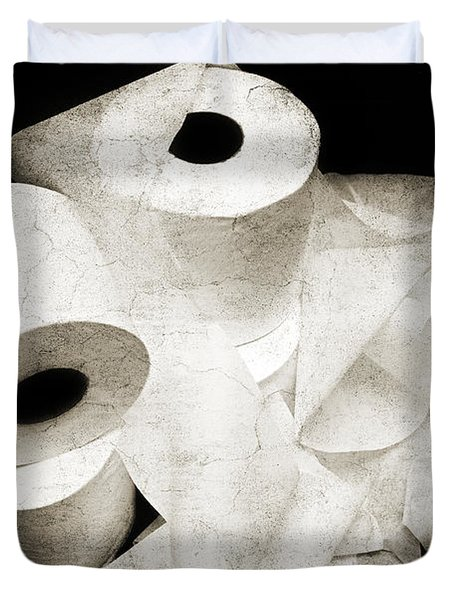 The Spare Rolls 2 - Toilet Paper - Bathroom Design - Restroom - Powder Room Duvet Cover by Andee Design