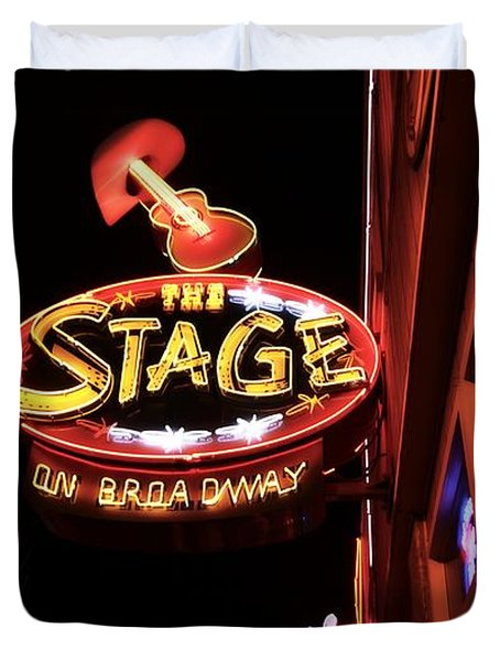 The Stage On Broadway In Nashville Duvet Cover by Dan Sproul