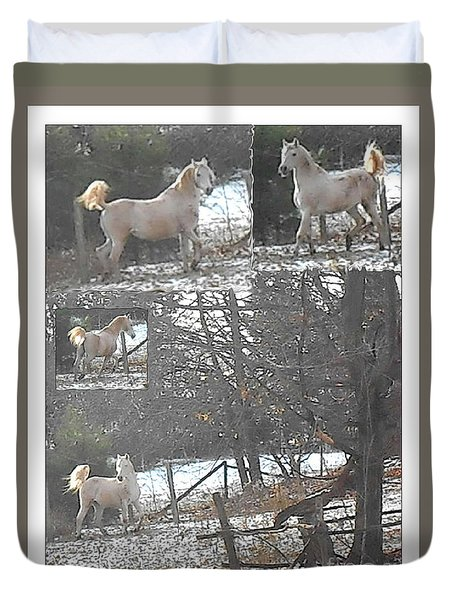 The Stallion Lives In The Country Duvet Cover by Patricia Keller