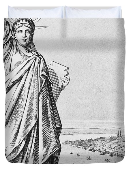 The Statue Of Liberty New York Duvet Cover by American School