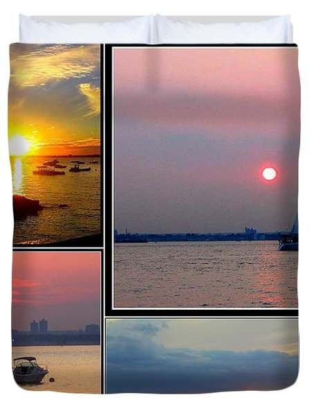 The Sunsets Of Long Island Duvet Cover by Dora Sofia Caputo Photographic Art and Design