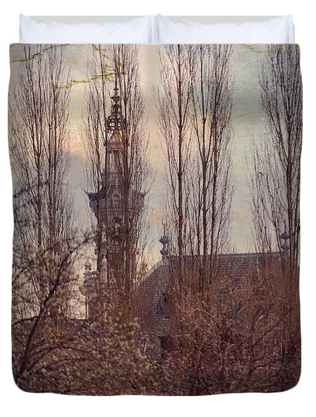 The Temple Bell Dies Away 2. Pink Spring In Amsterdam Duvet Cover by Jenny Rainbow