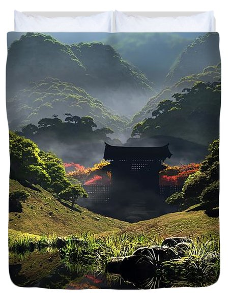 The Temple of Perpetual Autumn Duvet Cover by Cynthia Decker