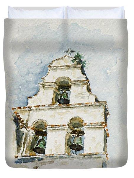 The Three-bell Campanario At Mission San Juan Bautista  Duvet Cover by Zaira Dzhaubaeva