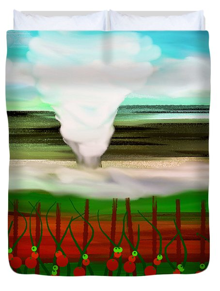 The Tomatoes And The Tornado Duvet Cover by Andee Design