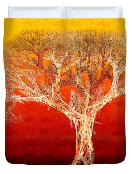 The Tree In Fall At Sunset - Painterly - Abstract - Fractal Art Duvet Cover by Andee Design