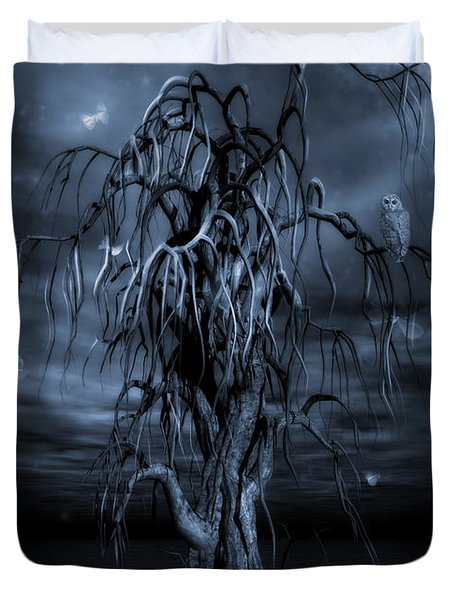 The Tree Of Sawols Cyanotype Duvet Cover by John Edwards