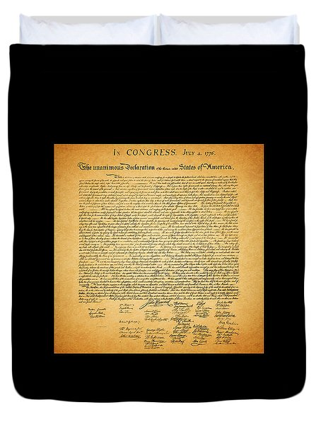 The United States Declaration of Independence - square black border Duvet Cover by Wingsdomain Art and Photography