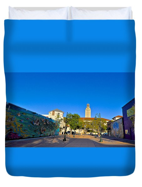 The University Of Texas Tower Duvet Cover by Kristina Deane