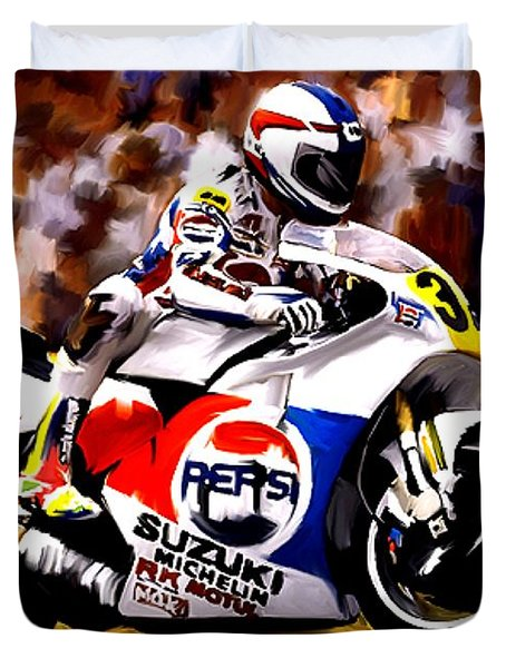 The Unleashing   Kevin Schwantz Duvet Cover by Iconic Images Art Gallery David Pucciarelli