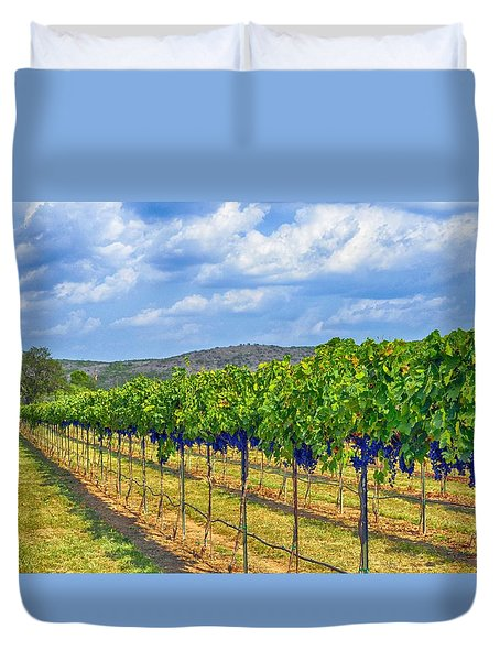 The Vineyard in Color Duvet Cover by Kristina Deane