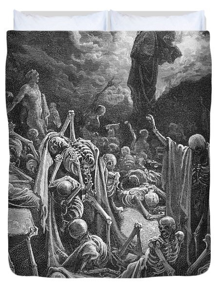 The Vision Of The Valley Of Dry Bones Duvet Cover by Gustave Dore
