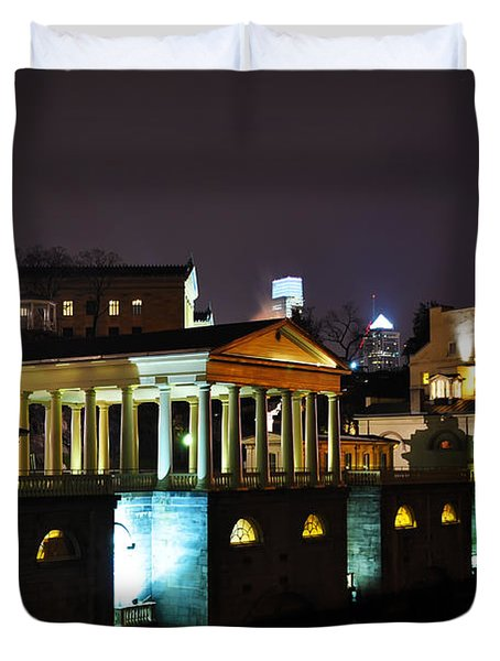 The Waterworks at Night Duvet Cover by Bill Cannon