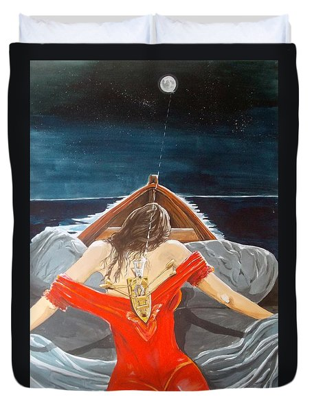 the whims of the moon listen with music of the description box Duvet Cover by Lazaro Hurtado