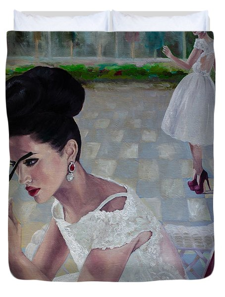 The White Lace Dress Duvet Cover by Dorina  Costras