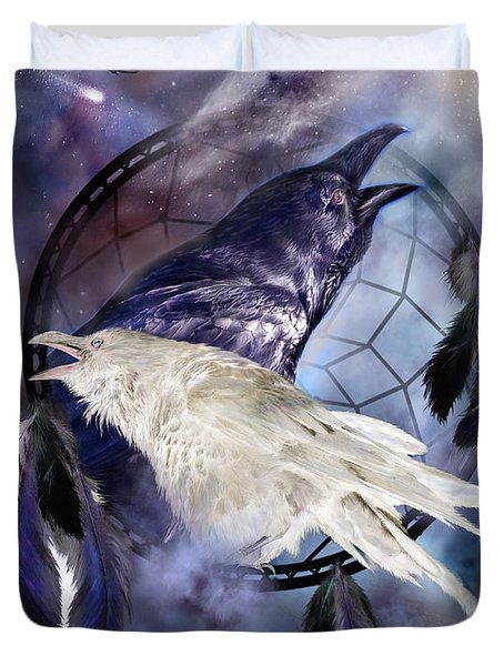 The White Raven Duvet Cover by Carol Cavalaris