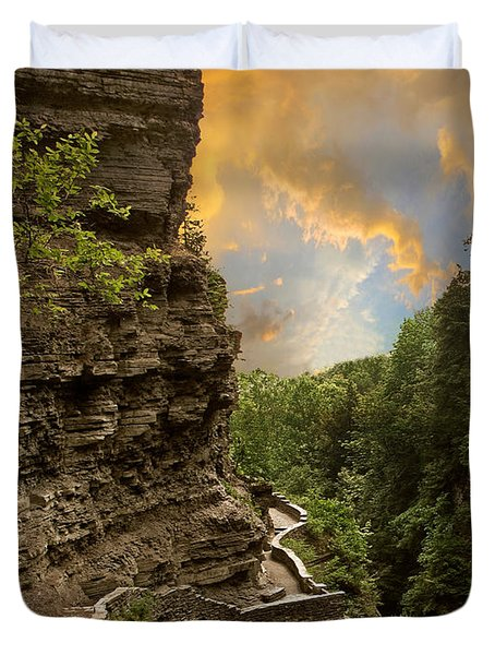 The Winding Trail Duvet Cover by Jessica Jenney