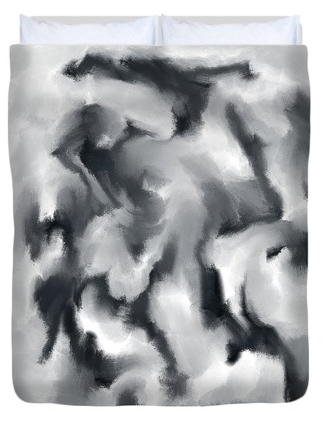 The Witch With Her Crows Charcoal Wash Duvet Cover by Sir Josef - Social Critic - ART