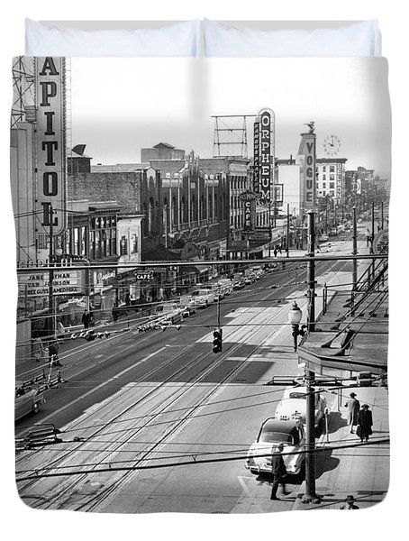 Theater Row - Vancouver Canada - 1951 Duvet Cover by Daniel Hagerman