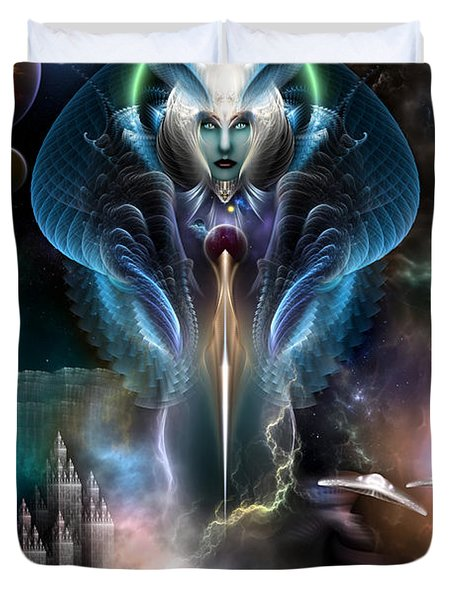 Thera Queen Of The Galaxy Duvet Cover by Rolando Burbon
