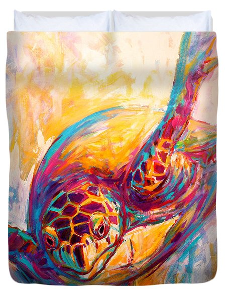 There's More than Just fish in the Sea - Sea Turtle Art Duvet Cover by Savlen Art