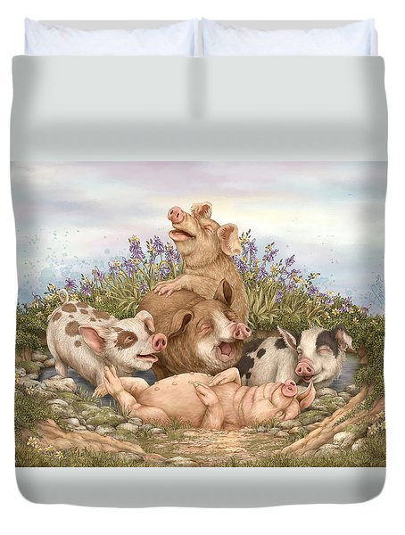 Think Happy Duvet Cover by Beverly Levi-Parker