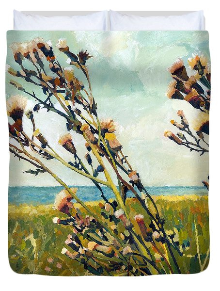 Thistles on the Beach - Oil Duvet Cover by Michelle Calkins