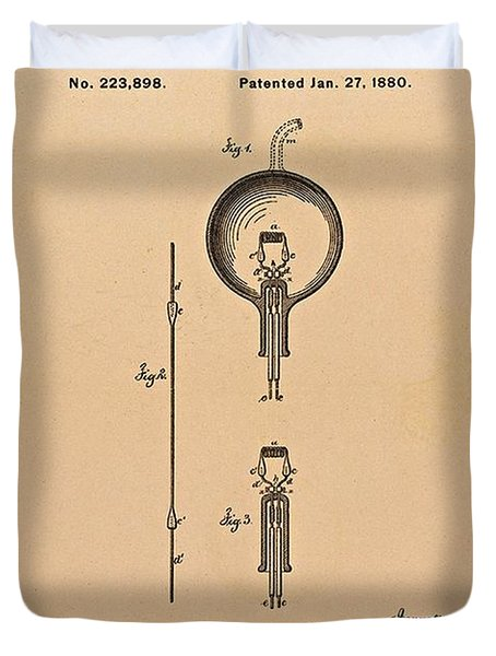 Thomas Edison Patent Application for the Light Bulb Duvet Cover by Movie Poster Prints
