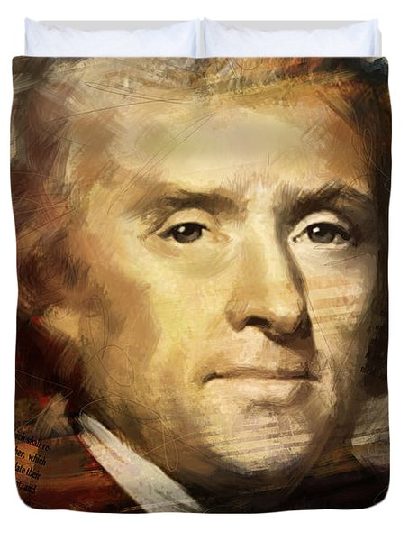 Thomas Jefferson Duvet Cover by Corporate Art Task Force