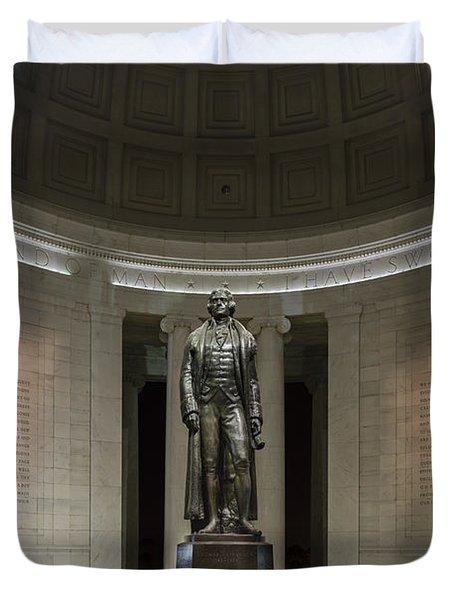 Thomas Jefferson Memorial At Night Duvet Cover by Sebastian Musial