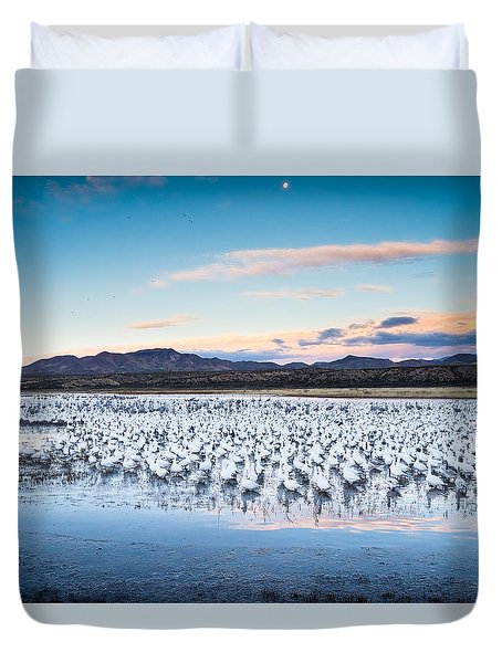 Snow Geese And Sandhill Cranes Before The Sunrise Flight - Bosque Del Apache, New Mexico Duvet Cover by Ellie Teramoto