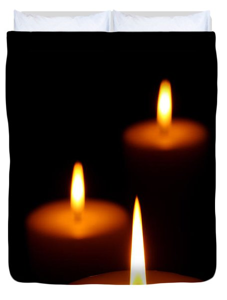 Three Burning candles Duvet Cover by Johan Swanepoel
