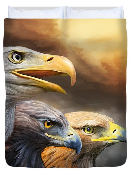 Three Eagles Duvet Cover by Carol Cavalaris