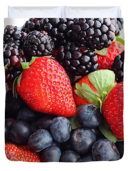 Three Fruit Closeup - Strawberries - Blueberries - Blackberries Duvet Cover by Barbara Griffin
