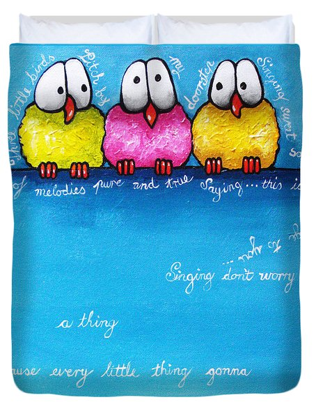 Three Little Birds Duvet Cover by Lucia Stewart