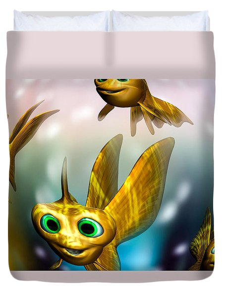 three little fishies and a mama fishie too Duvet Cover by Bob Orsillo