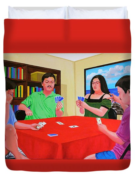 Three Men And A Lady Playing Cards Duvet Cover by Cyril Maza