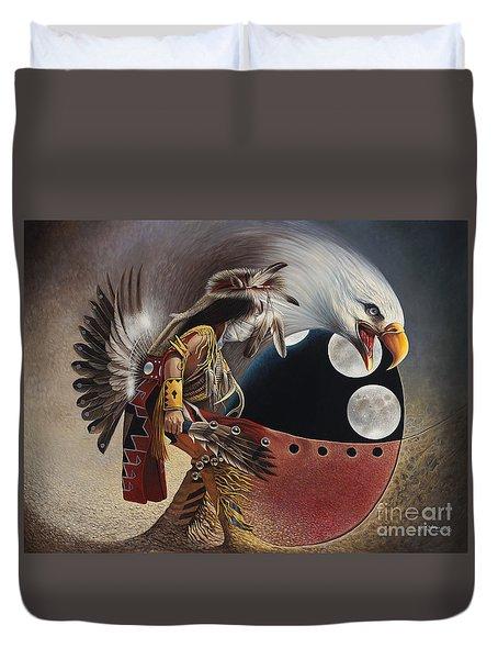 Three Moon Eagle Duvet Cover by Ricardo Chavez-Mendez