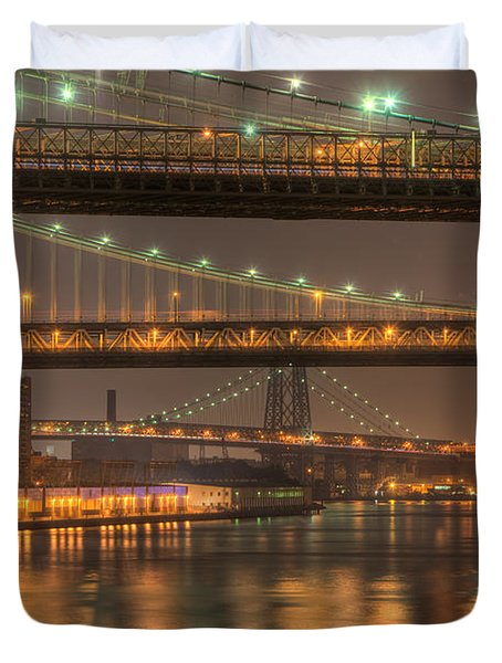 Three New York Bridges Duvet Cover by Clarence Holmes