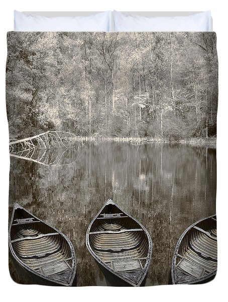 Three Old Canoes Duvet Cover by Debra and Dave Vanderlaan
