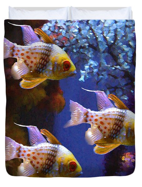 Three Pajama Cardinal Fish Duvet Cover by Amy Vangsgard