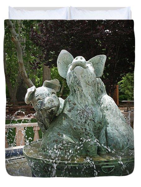 Three Piggy Fountain Duvet Cover by Ellen Henneke