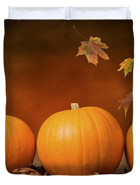Three Pumpkins Duvet Cover by Amanda Elwell