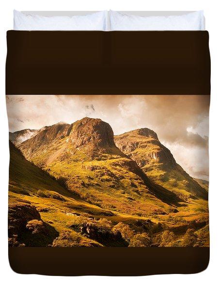 Three Sisters. Glencoe. Scotland Duvet Cover by Jenny Rainbow